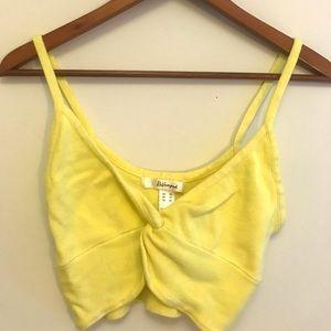 Revamped bright yellow twist tie crop top